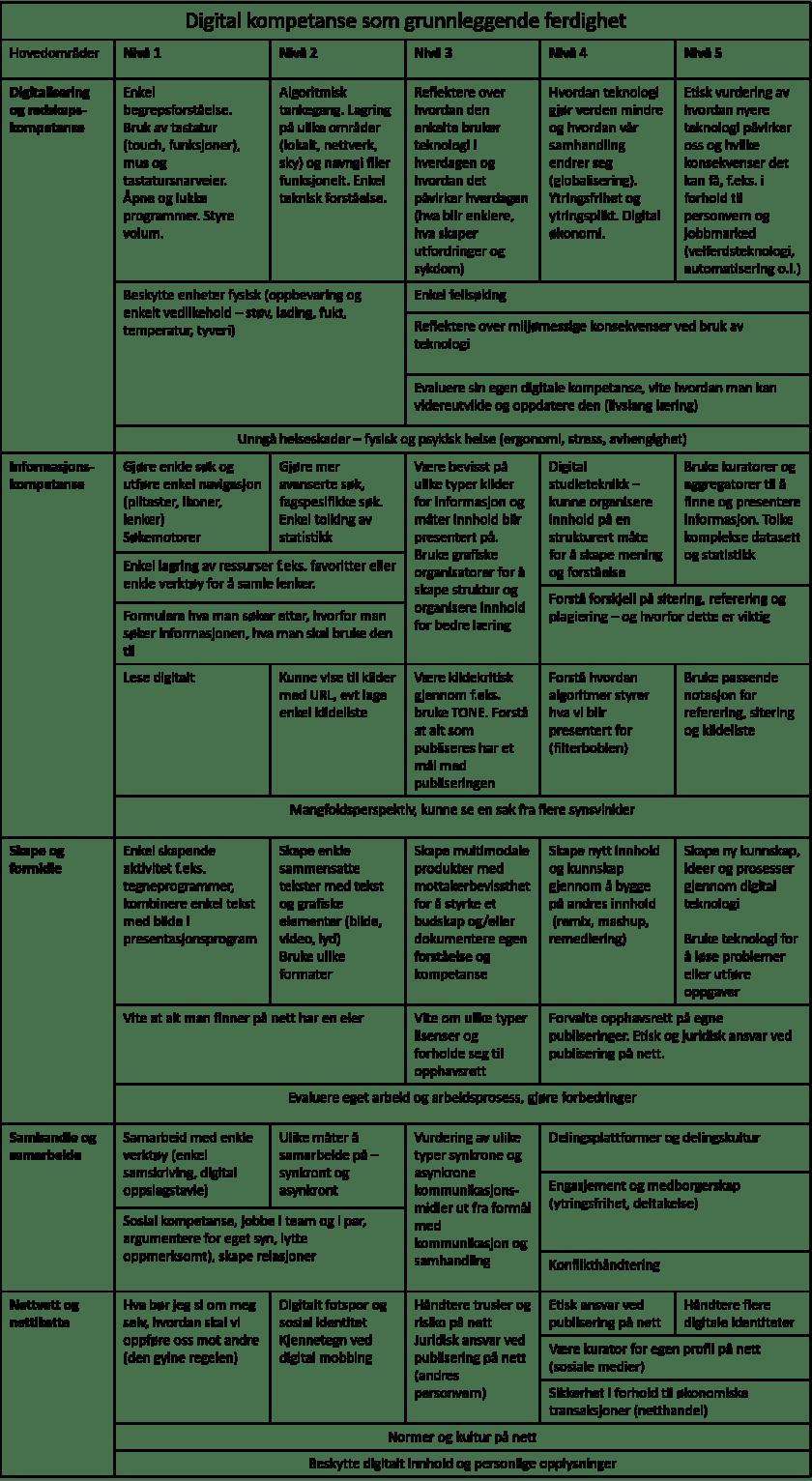 Alternativt rammeverk digitale ferdigheter